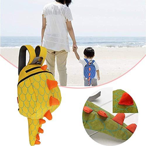 mochila del dinosaurio de los niños pequeños, mochila para niños pequeños, Bolsas de dinosaurio de paquete anti-perdida, mochila skip hop con correa de seguridad yellow
