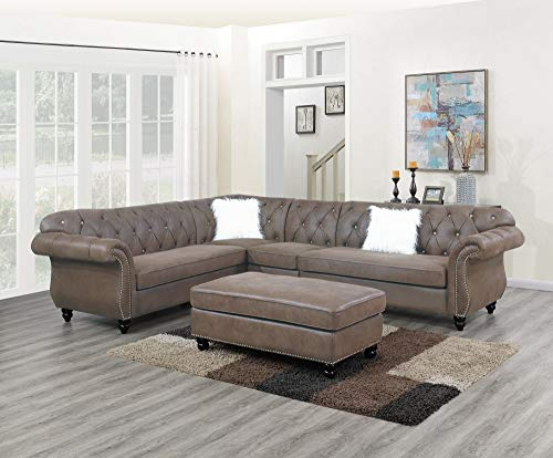 Esofastore Contemporary Modern Living Room Furniture 4pc Sectional Sofa Set Dark Coffee Breathable Leatherette Fabric Tufted Loveseats Armless Chair Corner Wedge