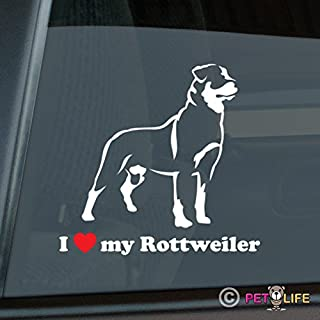 Mister Petlife I Love My Rottweiler Sticker Vinyl Auto Window rotty rott Rottie
