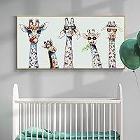グラフィティアートキュートでカラフルなキリンキャンバス絵画ウォールアートポスターとプリント動物ウォールアートルームの装飾-30x60cmフレームなし