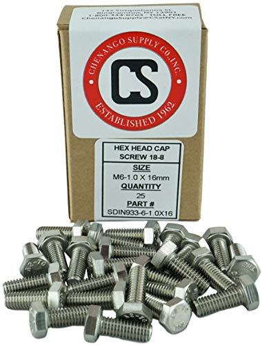 Stainless M6-1.0 x 16mm Fully Threaded Hex Head Bolts (12mm to 60mm Length in Listing), DIN 933, 18-8 Stainless Steel, 25 Pieces (M6-1.0 x 16mm)