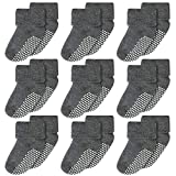 Cooraby 9 Pairs Toddler Non-Skid Turn Cuff Thick Socks Stretch Warm Infant Socks (Grey, 12-18 Months)