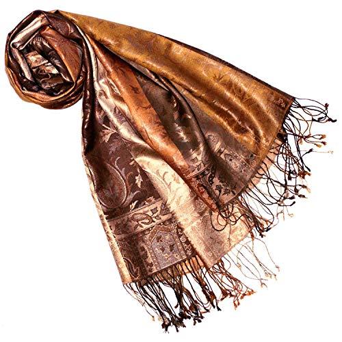 Lorenzo Cana Damen Pashmina Schal Schaltuch jacquard gewebt 100% Seide 70 x 190 cm Paisley Muster Seidenschal Seidentuch Seidenpashmina harmonische Farben