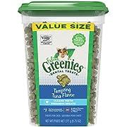 FELINE GREENIES Dental Cat Treats, Tempting Tuna Flavor, 9.75 oz. Tub