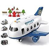 WXZQ 18 unids/Set Juguetes para niños simulación Gran Modelo de avión Juguetes aleación Modelo de Coche de policía Juguetes para estacionamiento Juguetes policías