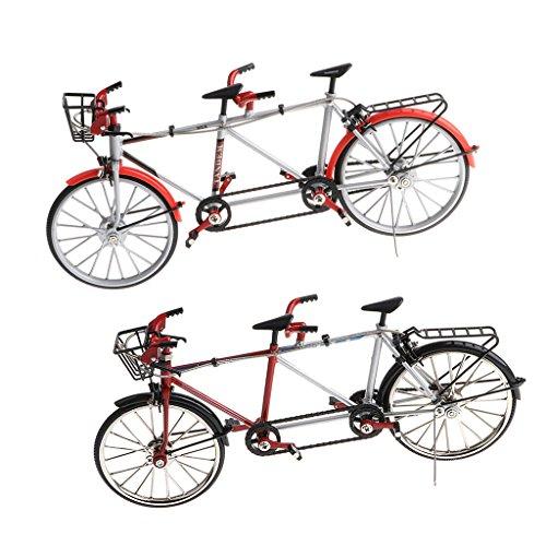 Fenteer 2 Stücke 1:10 Legierung Diecast Tandem Fahrrad Rennrad Modell für Schaufenster, Geschenk oder Kollektionen (Schwarz + Rot)
