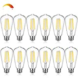 Dimmable Vintage LED Edison Bulbs Equivalent 60W Incandescent, 7W Warm White 2700K ST58 Antique LED Filament Bulbs with E26 Medium Socket, Super Brightness 850LM, Clear Glass, 12 packs