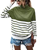 KIRUNDO 2020 Women's Turtleneck Knitted Sweater Long Sleeves Stripe Patchwork Print Soft Loose Fit Ribbed Pullover Jumper Tops (Small, Stripe-Green)