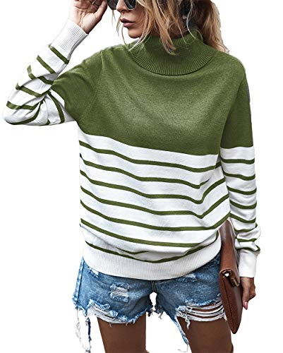 KIRUNDO 2020 Women's Turtleneck Knitted Sweater Long Sleeves Stripe Patchwork Print Soft Loose Fit Ribbed Pullover Jumper Tops (X-Large, Stripe-Green)