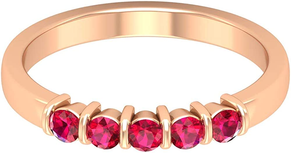 2.4 MM Round Lab Created Ruby Ring, Five Stone Ring, Gold Eternity Band (AAAA Quality), 14K Gold