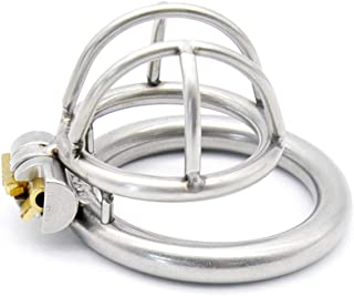 LXL Yoga Grown-ups Metal Stainless Steel Chastíty Cage Dark Cage Toy Device, Suitable for Male Use T Shirt (Size : 45mm)