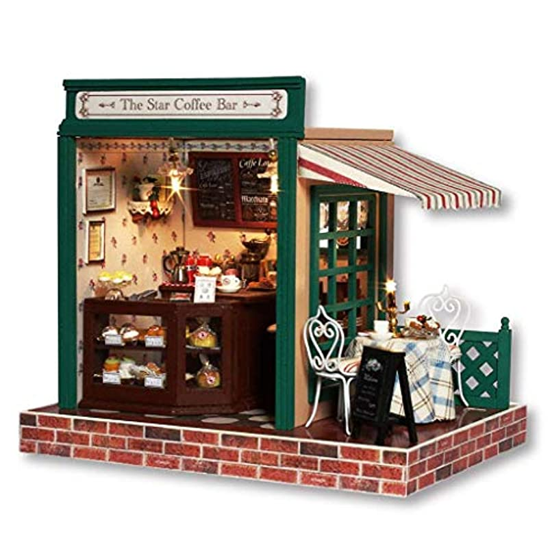 Rylai 3D Puzzles Wooden Handmade Miniature Dollhouse DIY Kit w/ Light-The Star Coffee Bar Series Dollhouses Accessories Dolls Houses with Furniture & LED & Music Box Best Xmas Gift