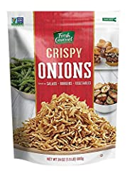 Our Fresh Gourmet crispy onion comes in 24 Ounce, lightly salted flavor. Also available in 3.5 Ounce single pack and pack of 6 Great use on variety dishes. Our crispy onions add a burst of flavor & crunchy topping to salads, wraps, casseroles, burger...