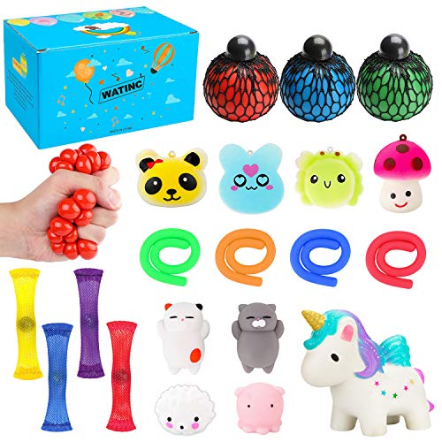 WATINC 20 Pack Sensory Fidget Toys Set, Kawaii Squeeze, Mochi Squeeze, Squeeze Ball, Mesh and Marble Toy, Stretchy String, Colorful Sensory Fidget Stretch Toy for ADHD Autism Stress Anxiety Relief