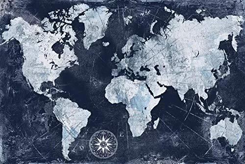 Mapa del mundo Vintage Lienzo Mapa del mundo Impresión impermeable Mapa Mapa del mundo Exquisito Mapa del mundo Espectacular Decoración de la casa-90x135cm_HZ13131