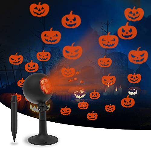 Auxiwa Halloween Lights Outdoor Decorations Projector Show Indoor LED Pumpkin Projection Outside Spotlight for Holiday House Wall Landscape Party Decorations