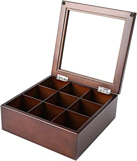 TOPBATHY Coffee Storage Box Organizer Wooden Tea Box with 9-Compartment and Glass Window Tea Coffee Display Case Tea Bag Chest No Letters