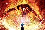 199Tdfc Peinture par numéro Kit, Diy peinture à l'huile dessin Le Seigneur des Anneaux Gandalf contre le démon Toile avec des pinceaux décor de Noël cadeaux - 16 * 20 pouces sans cadre