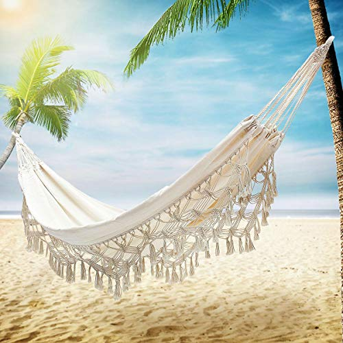 KeepTpeeK Hammock Handmade Organic Cotton Classic Hammock Macrame Fringe Tree Hammocks Swing Bed for Camping,Beach,Bedroom, Patio,Patio,Wedding Decor,Porch, Outdoor,Indoor,Yard