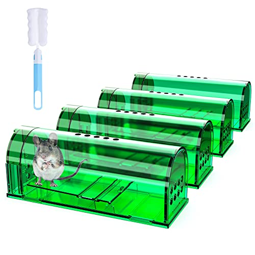 4 Pcs Humane Mouse Traps No Kill, Live Mouse Trap, Reusable Mice Trap Catch for House...
