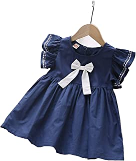 Babywearoutlet Baby Girl's 1-5T Cotton Solid Color Bow Uniform Skirt School Uniform Skirt Dress (B, 100#(1-2T))