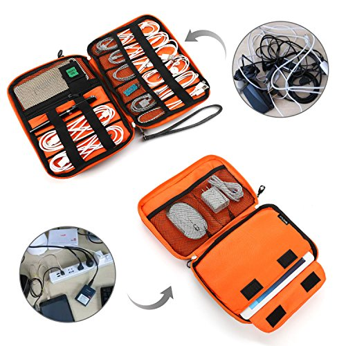 Electronics Organize   r, Jelly Comb Electronic Accessories Cable Organizer Bag Waterproof Travel Cable Storage Bag for Charging Cable, Cellphone, Mini Tablet (Up to 7.9'') and More (Orange and Gray)
