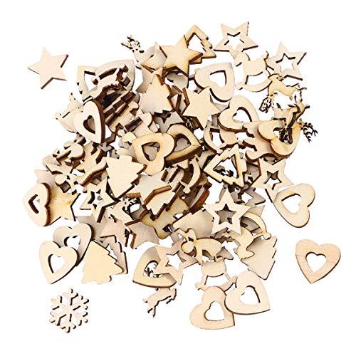 SUPVOX, 100 dischi di legno a forma di cuore, in legno, per decorazioni per albero di Natale, per matrimoni, feste, fai da te, decorazioni (motivi misti)