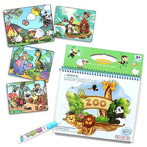 HOZO - Libro di Pittura ad Acqua, Bambini Libro da Disegno, Bambini riutilizzabili da colorare Libro, con Acqua Disegno a Penna(Animal)