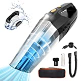 Aspirapolvere Portatile, 9000Pa 120W Aspirabriciole Senza Fili Potente con filtro lavabile e Luce LED, USB Ricaricabile, Aspirapolvere Auto per Casa/Auto/Ufficio (65dB)