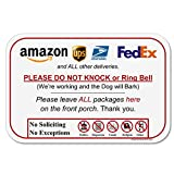 Spryzzle Leave Package Sign - Do Not Knock or Ring Doorbell, Dog Will Bark, 6 x 9 inches No Rust PVC, Will Not Scratch, Easy to Mount with Included Adhesive, Made in USA