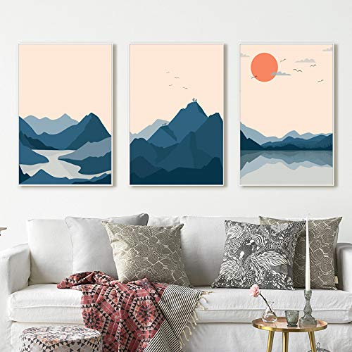 XIANGPEIFBH Abstract Japanese Style Sunset Mountain Lake Landscape Canvas Painting Posters and Prints Wall Art Picture for Home Decor 40x60cmx3pcs Unframed
