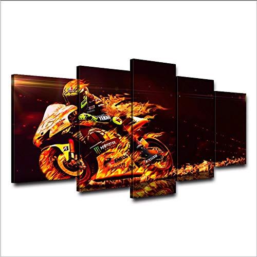 xzfddn Kunst Leinwand Malerei Wand Für Wohnzimmer 5 Stück Leinwand Valentino Rossi Motor Modulare Bild Poster Hd Drucken