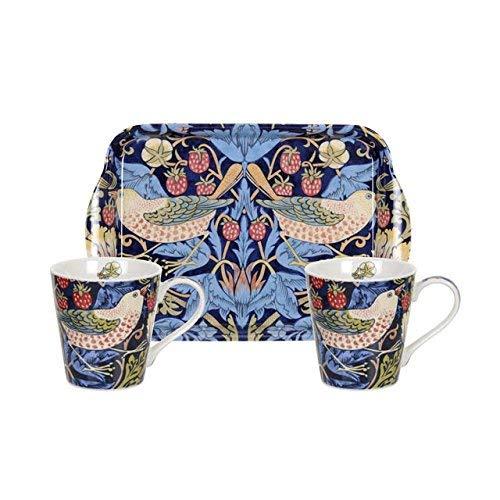 Morris & Co pour Pimpernel Strawberry Thief Tasse et Set Plateau, Bleu