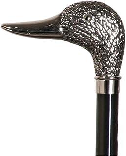 """Smart promenadkäpp silver nickel anka huvud handtag monterat på svart hårt bokträ 39"""" 100 cm"""