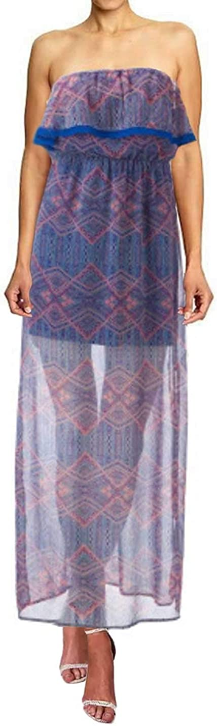 PINK Complete Free Shipping ROSE Womens Juniors Geometric Long Beach Mall Sheer Dress Back Maxi Corset