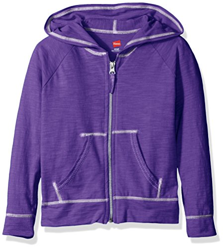 Hanes Little Girls' Slub Jersey Full Zip Jacket, Purple Crush, Medium