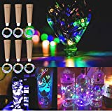 MEDOYOH 6 luces de corcho de colores para botellas, 2 m, 20 LED, luces para botella de vino con corcho, iluminación simple, luces de botella, pilas AAA para Navidad, manualidades, bodas o Navidad