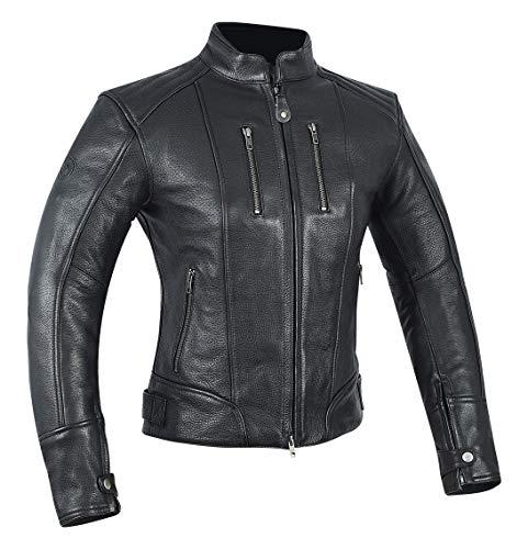 MAGOMA Tribeca, Giacca in pelle A++ con protezioni da moto Donna, Black, L