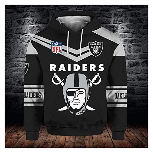 XYY Jerseys para Hombre Raiders Nuevo Equipo de fútbol impresión Digital 3D otoño e Invierno Moda suéter con Capucha para Hombre Unisex (Color : B7, Size : L)