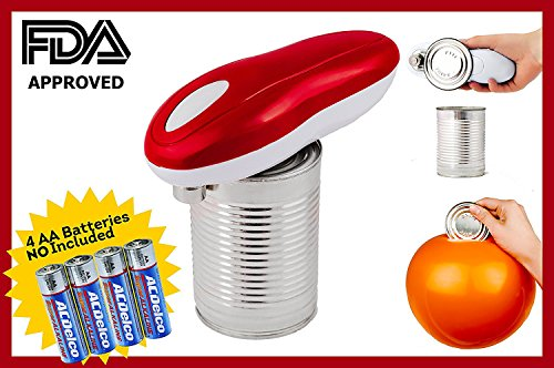 Automatic Electric Can Opener for Restaurant & Kitchen, Handy One Touch Smooth Edge Battery Tin Opener, Chef's Best Choice as Easy to use TinCan Opener. Great Camping Cooking. Batteries Not Included