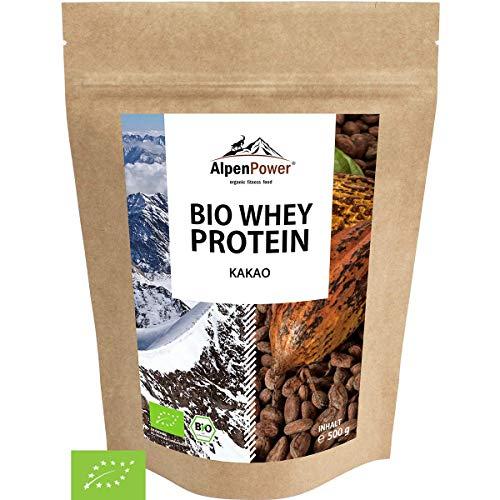 ALPENPOWER | BIO WHEY Protein Kakao | Ohne Zusatzstoffe | 100% natürliche Zutaten | Bio-Milch aus Bayern und Österreich | Superfood Kakao | Hochwertiges Eiweißpulver | 500 g