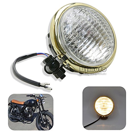 BJ Global 12,7 cm Moto universel Phare Lampe frontale haute/basse Faisceau ampoule de brouillard ampoule pour Honda Yamaha Touring Chopper Bobber Street Bike