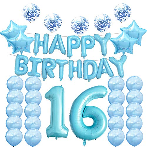 16th Birthday Decorations Party Supplies,16th Birthday Balloons Blue,Number 16 Mylar Balloon,Latex Balloons Decoration,Great Sweet 16th Birthday Gifts for Girls,Photo Props