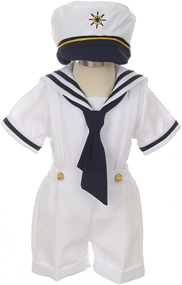 Baby Boy Marine Sailor Costume Short Sleeve Romper With Hat 2 Pcs Set