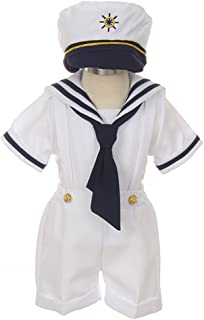 iGirldress Baby Toddler Boys Nautical Sailor Outfit Short Suit 4 Piece Set