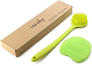 Back Scrubber,Silicone Bath Body Brush Exfoliator Back Brush Long Handle for Shower with Soft Bristles,gift with Brushing Gloves,Green