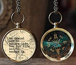 Compass- Valentine's Day Gift Ideas for Travelers- As they say, love will lead the way! but check out this antique looking compass, which actually works as well. It also has one of my favorite travel quotes at the back of it.