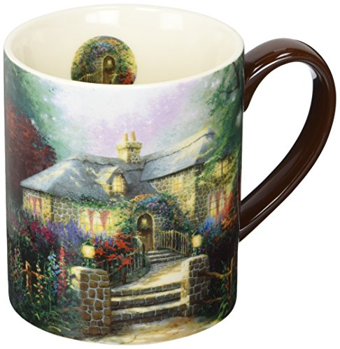 Lang Hollyhock House Mug by Thomas Kinkade, 14 oz, Multicolored