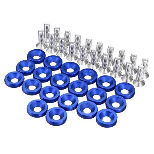 20pcs M6x15mm CNC de Aluminio Car Styling Universal Pegatina de parachoque contraseña for Fender arandela del Perno del Motor Bahía de Vestir Kit (Color Name : Blue)