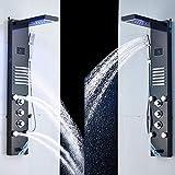 HSIYE,Baño Set,Panel de Ducha LED Negro Cascada de Lluvia Pantalla de Temperatura de la Ducha Masaje SPA Jet Tres manijas Mezclador Grifo para Fregadero Juego de grifería, Níquel Cepillado,